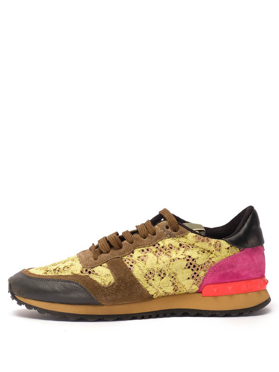 Women Valentino Rockrunner Sneakers -  Pink/Yellow/Brown Size 38.5 US 8.5
