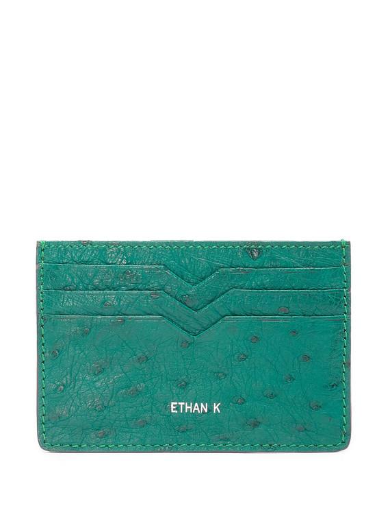 Women Ethan K Ostrich Card Holder -  Green