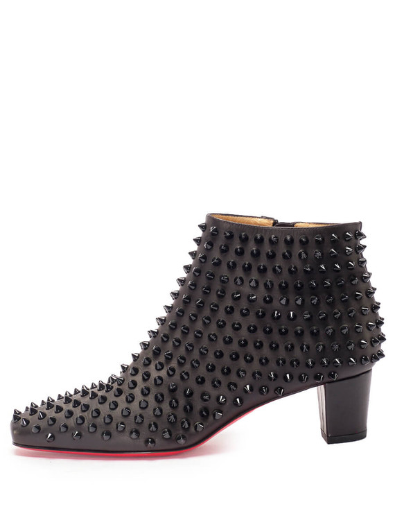 Women Christian Louboutin Spiked Ankle Boots -  Black Size 38.5 US 8.5