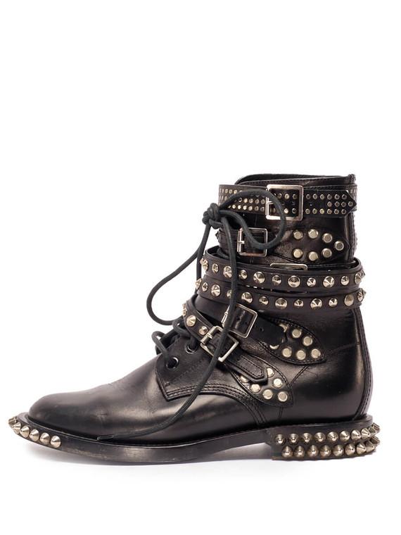 Women Saint Laurent Studded Boots -  Black Size 38 US 8