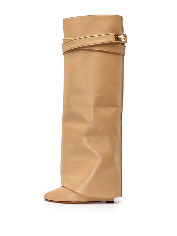 Women Givenchy Shark Lock Boots -  Nude Size 39 US 9