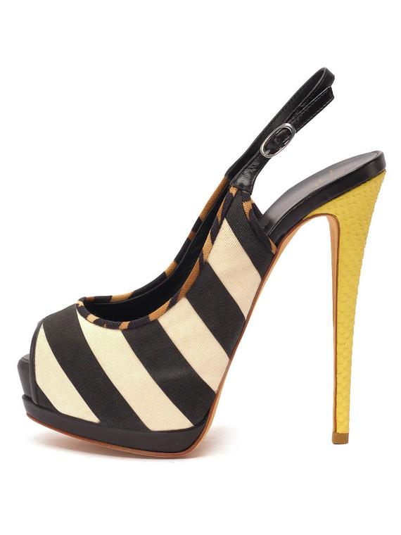 Women Giuseppe Zanotti Striped Slingback Platform Heels -  Black/White/Yellow Size 38.5 US 8.5