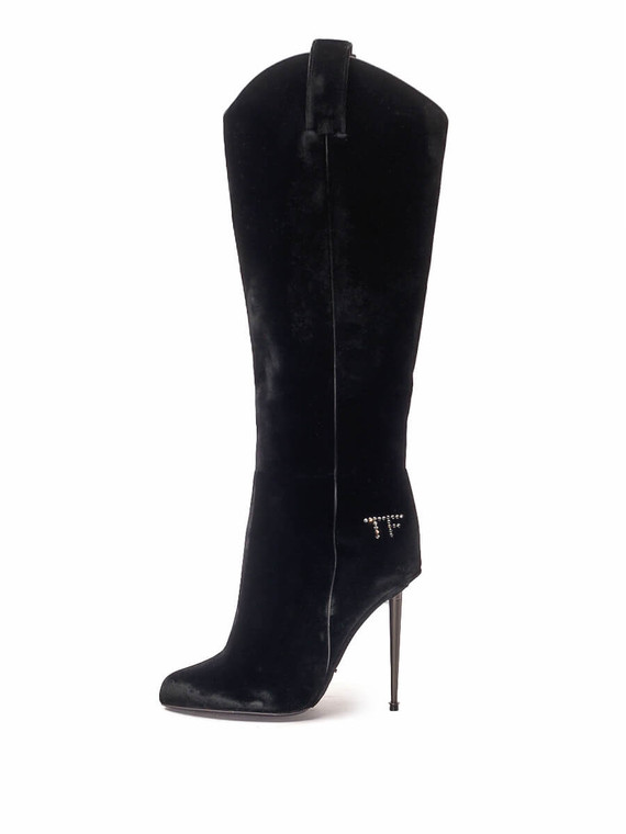 Women Tom Ford Signature Logo Western Boots -  Black Size 38.5 US 8.5