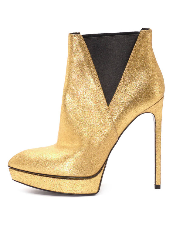 Women Saint Laurent Platform Ankle Booties -  Gold Size 38.5 US 8.5