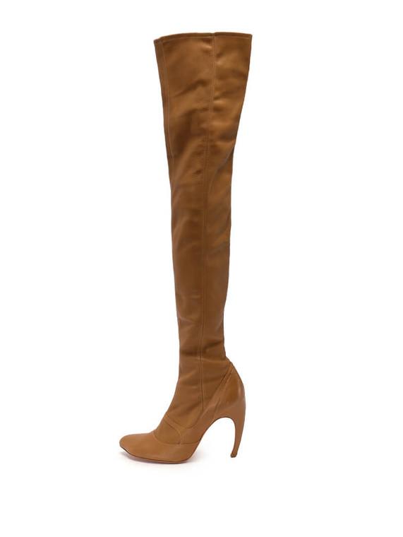 Women Alexander McQueen Knee-High Boot Heels -  Brown Size 38 US 8