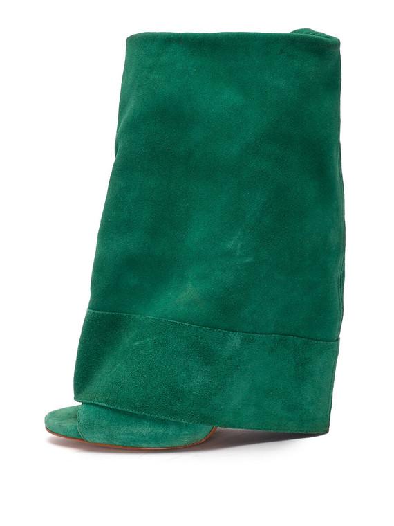 Women Casadei Flap Boot Peep-Toe Heels -  Green Size 38 US 8