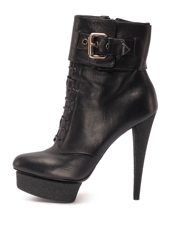 Women Le Silla Buckled Platform Booties -  Black Size 38.5 US 8.5