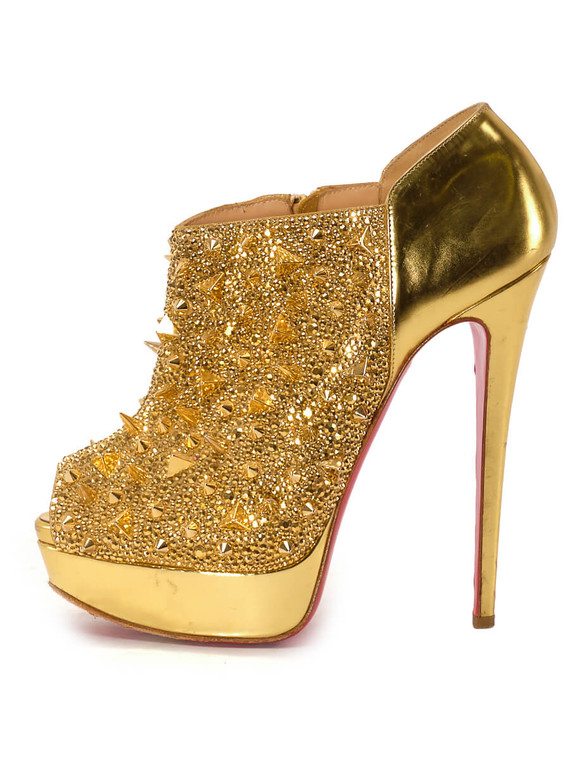 Women Christian Louboutin Studded Crystal Show Heels -  Gold Size 39 US 9
