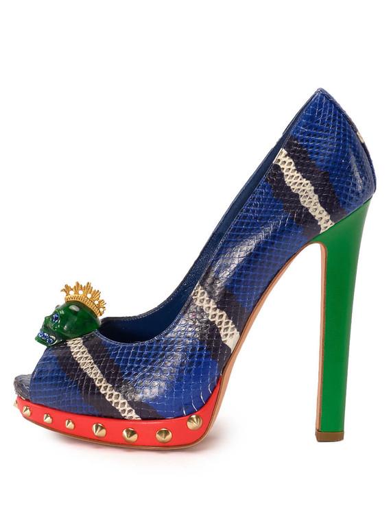Women Alexander McQueen Skull Peep-Toe Platform Heels -  Blue/Red/Green Size 38 US 8