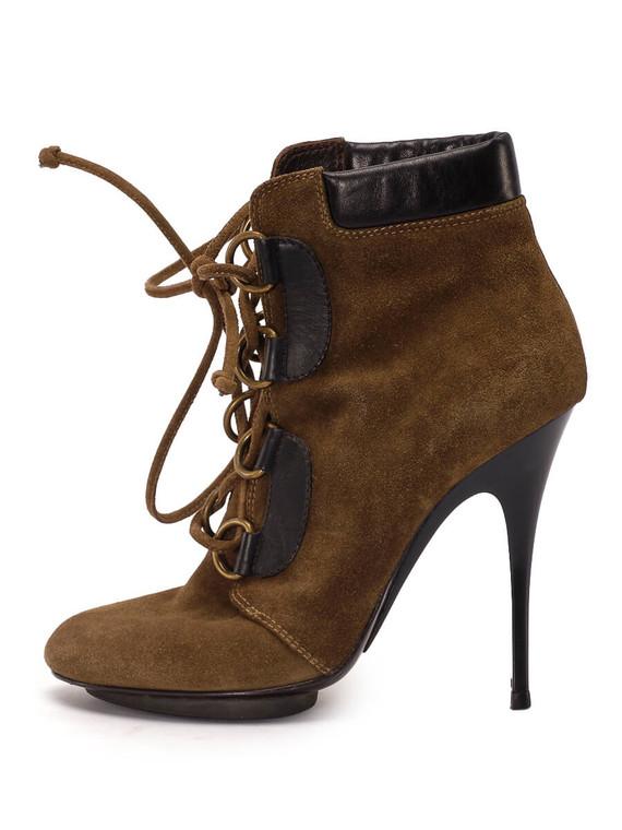 Women Giuseppe Zanotti Lace-Up Booties -  Brown Size 38.5 US 8.5