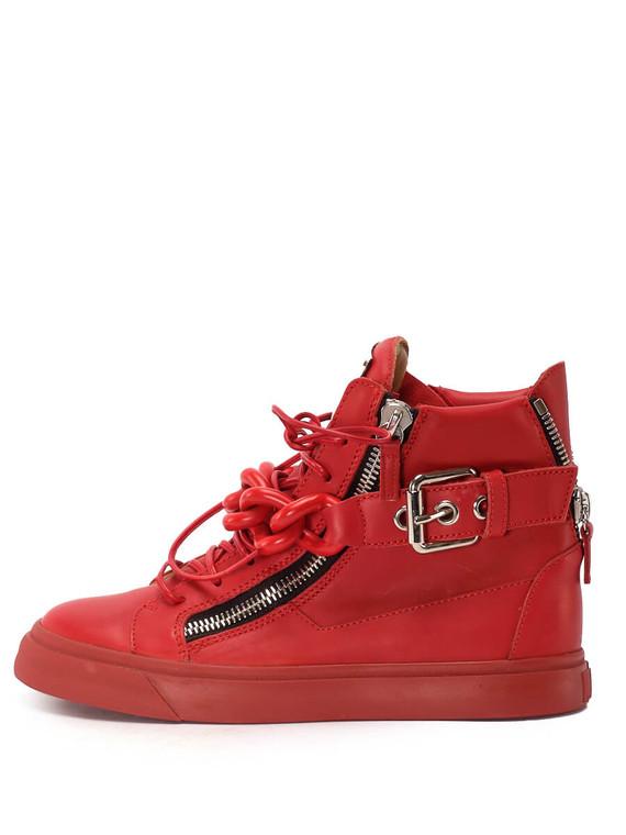 Women Giuseppe Zanotti Zip & Buckle High-Top Sneakers -  Red Size 38.5 US 8.5