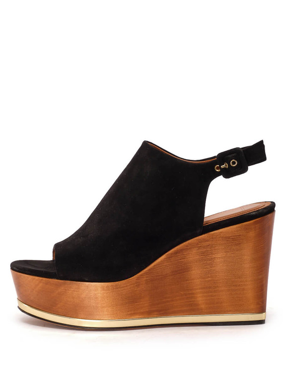 Women Givenchy Wooden Wedged Sandals -  Black/Brown Size 39 US 9