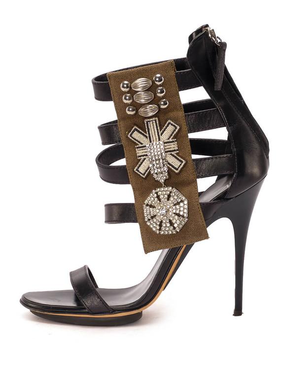 Women Giuseppe Zanotti Strap Embellished Sandal Heels -  Black Size 38.5 US 8.5