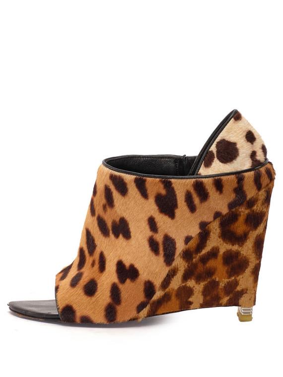 Women Alexander Wang Alla Leopard Wedges -  Brown/Black Size 38 US 8