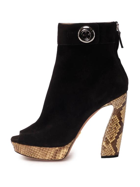 Women Prada Peep-Toe Block Heel Booties -  Black Size 38.5 US 8.5
