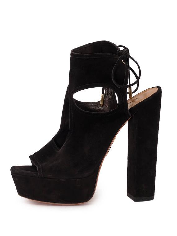 Women Aquazurra Platform Sandal Block Heels -  Black Size 39 US 9