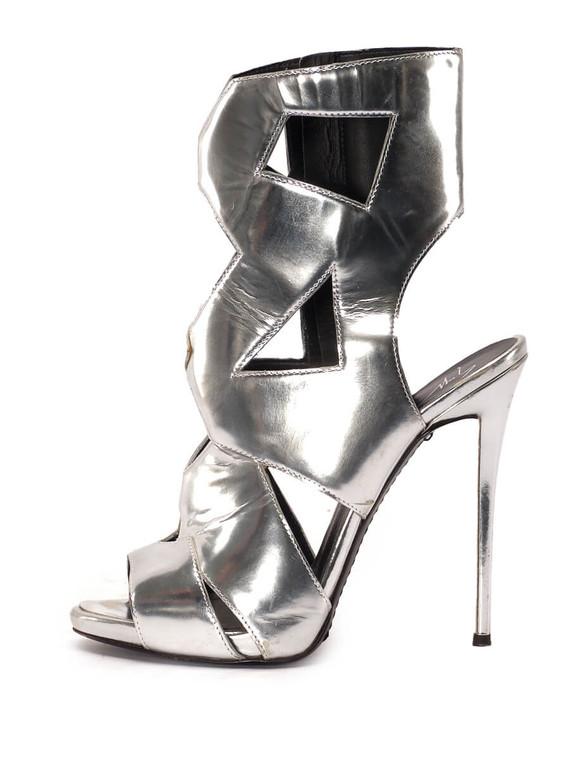 Women Giuseppe Zanotti Geometric Strapped Sandal Heels -  Silver Size 39 US 9