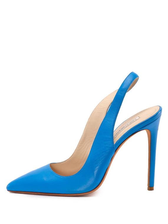 Women Gianmarco Lorenzi Pointed-Toe Slingback Heels -  Blue Size 38.5 US 8.5