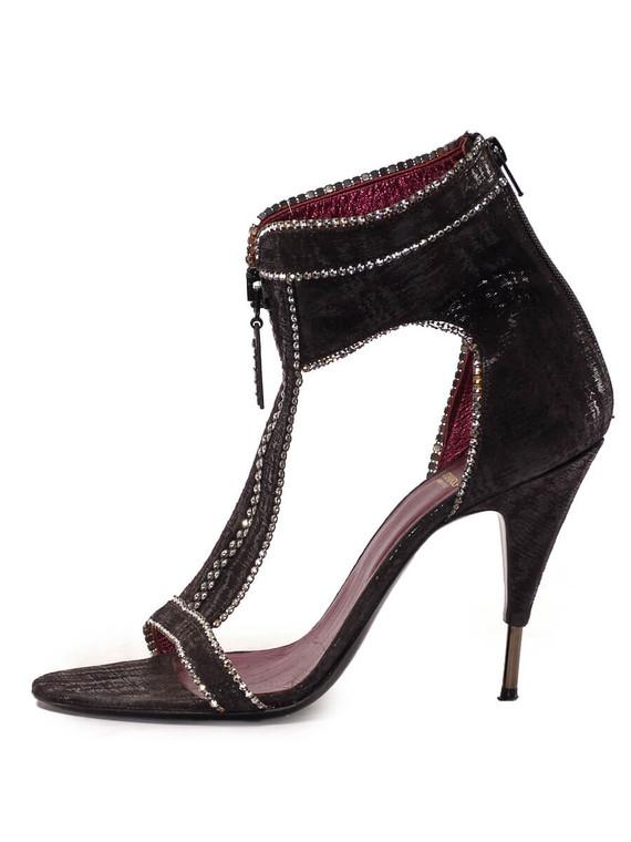 Women Viktor Rolf Studded Sandal Heels -  Black Size 39 US 9