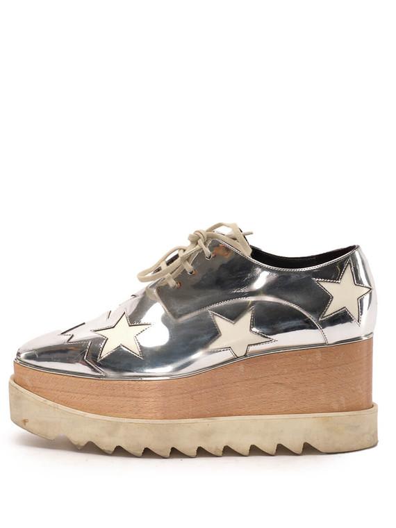 Women Stella McCartney Elyse Platform Lace-Ups -  Silver Size 38 US 8