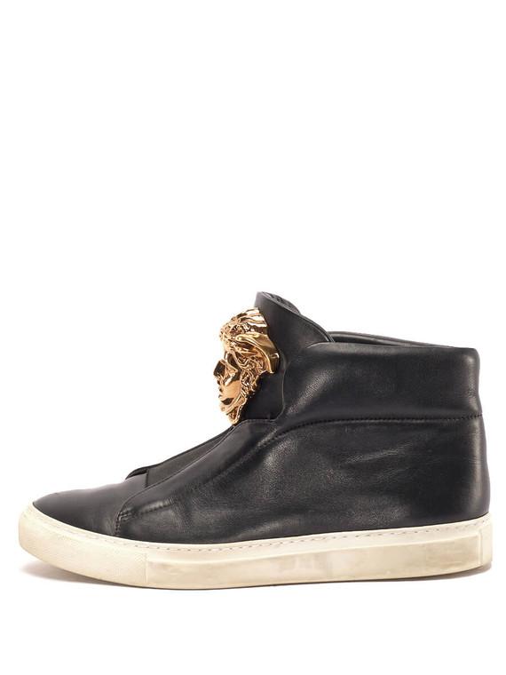 Women Versace Medusa High-Top Sneakers -  Black Size 38 US 8