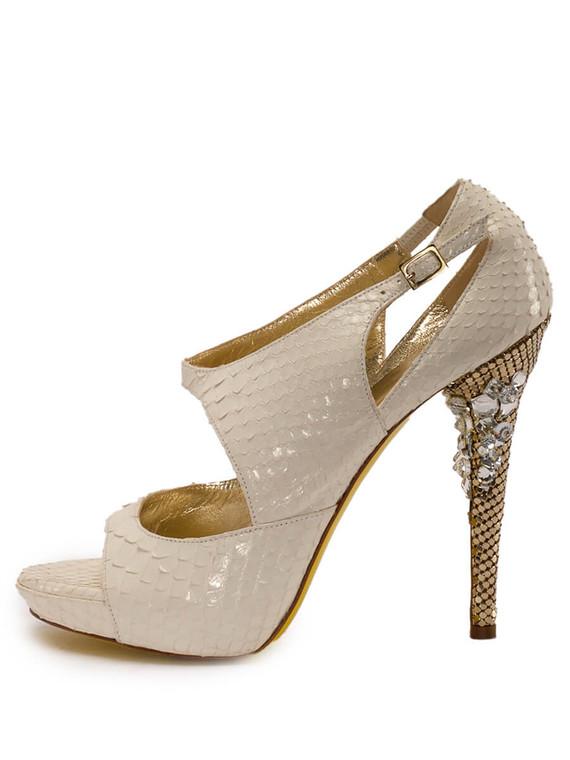 Women Versace Jewel Sandal Heels -  White Size 38.5 US 8.5