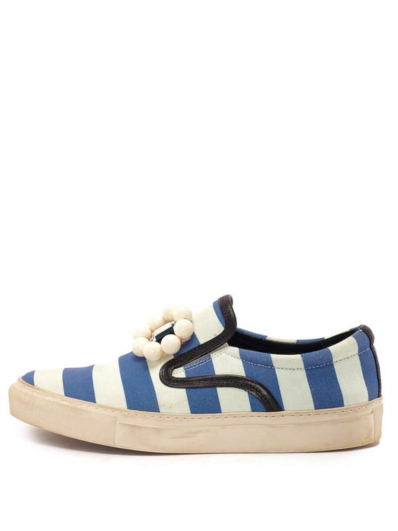Women Mother of Pearl Stripe Slip-On Sneakers -  Blue/White Size 38 US 8
