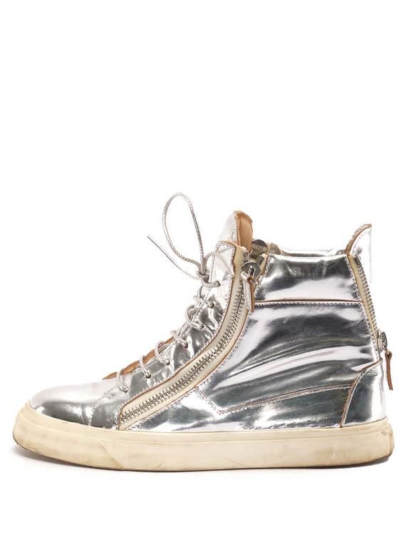 Women Giuseppe Zanotti Metallic High-Top Sneakers -  Silver Size 38 US 8