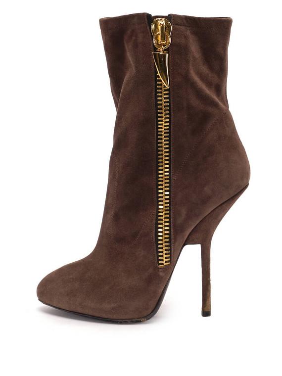 Women Giuseppe Zanotti Zip Ankle Booties -  Brown Size 38.5 US 8.5