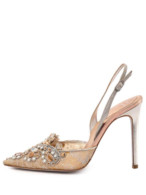Women Rene Caovilla Jewelled Slingback Heels -  Silver Size 38 US 8