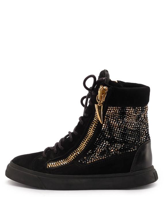 Women Giuseppe Zanotti High-Top Sneakers -  Black Size 38 US 8