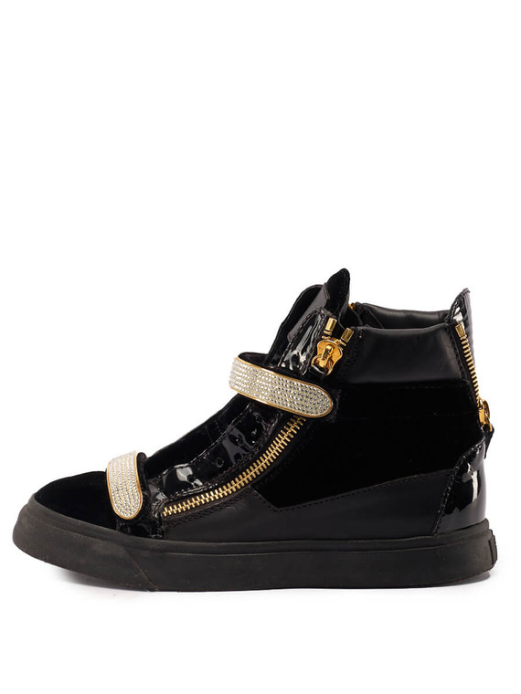 Women Giuseppe Zanotti Diamond Strap High-Top Sneakers -  Black Size 38.5 US 8.5