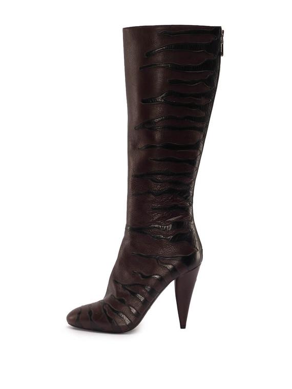 Women Prada Knee Boot Heels -  Brown Size 38.5 US 8.5