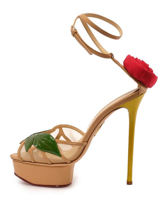 Women Charlotte Olympia Rose Platform Sandal Heels -  Nude Size 38 US 8