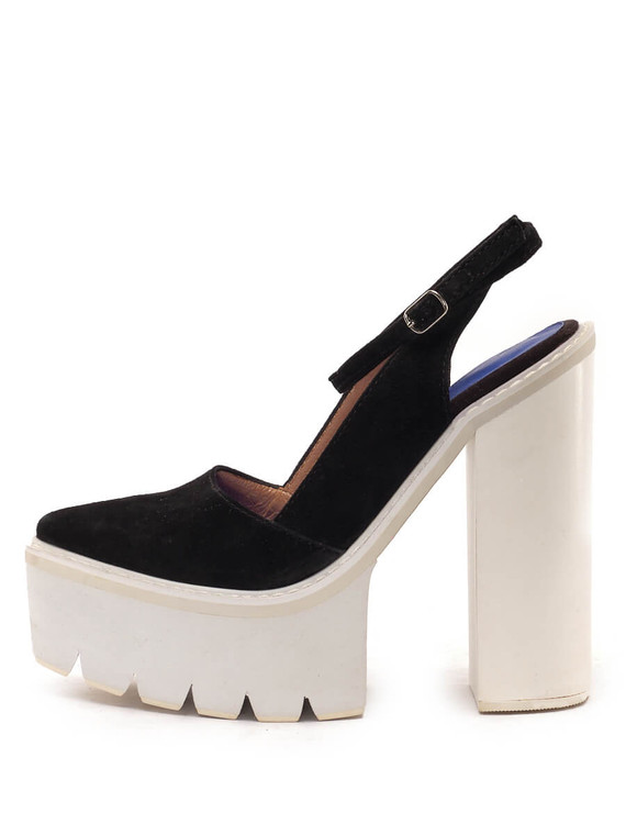 Women Jeffrey Campbell Barclay Platform Slingback Heels -  Black Size 38 US 8