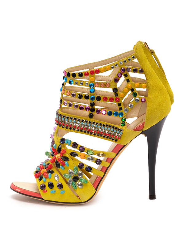 Women Giuseppe Zanotti Multi Embellished Sandal Heels -  Yellow Size 38.5 US 8.5