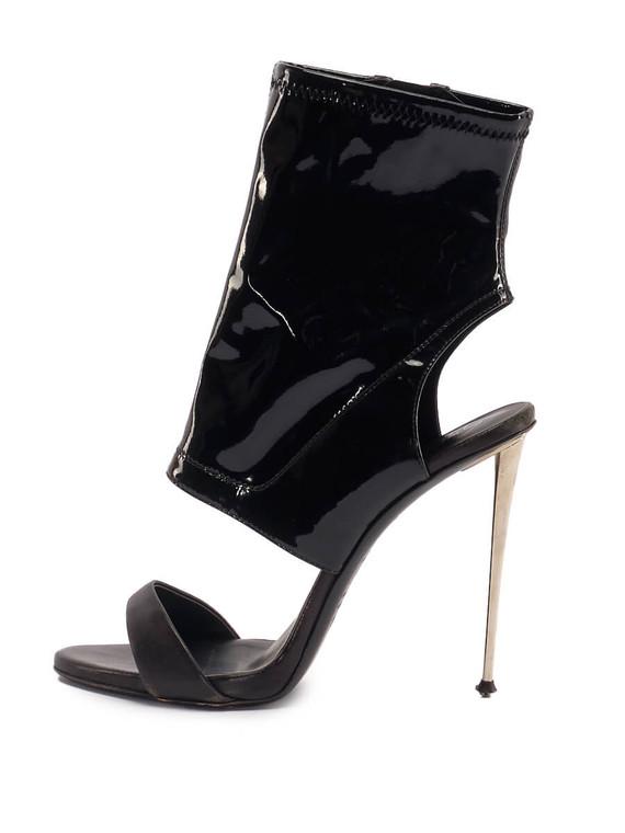 Women Giuseppe Zanotti Ankle Zip Sandal Heels -  Black Size 38.5 US 8.5