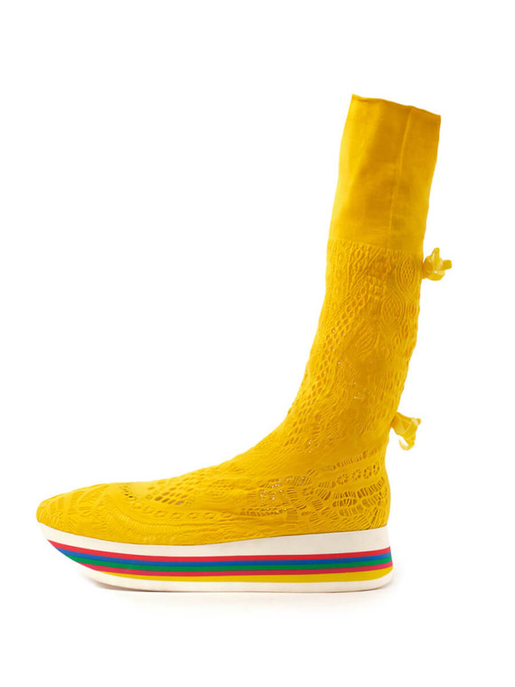 Women Nila and Nila Crochet Sock Sneakers -  Yellow Size 38 US 8