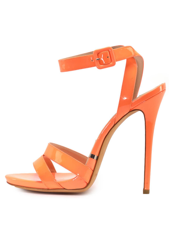 Women Gianmarco Lorenzi Strap Sandal Heel -  Orange Size 38.5 US 8.5