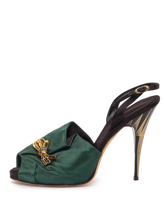 Women Giuseppe Zanotti Bow Sandal Heels -  Green/Black Size 38.5 US 8.5