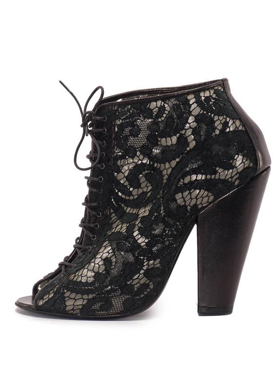 Women Givenchy Lace-Up Peep-Toe Ankle Heels -  Black Size 39 US 9
