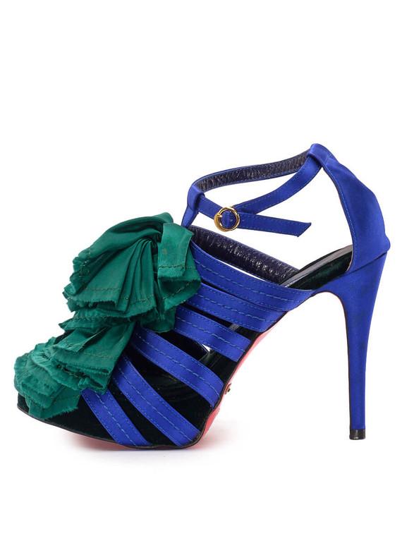 Women Suecomma Bonnie Ruffle Sandal Heels -  Blue/Green Size 38 US 8