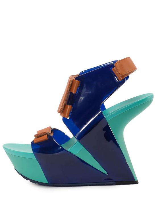 Women United Nude Strap Sandal Platform Wedge -  Blue/Brown Size 39 US 9