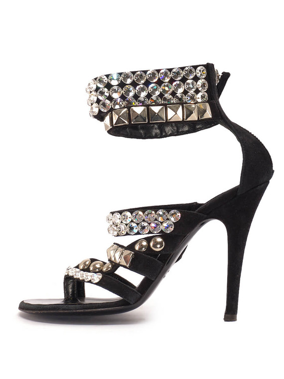 Women Giuseppe Zanotti x Balmain Jewel & Stud Sandal Heels -  Black Size 38 US 8