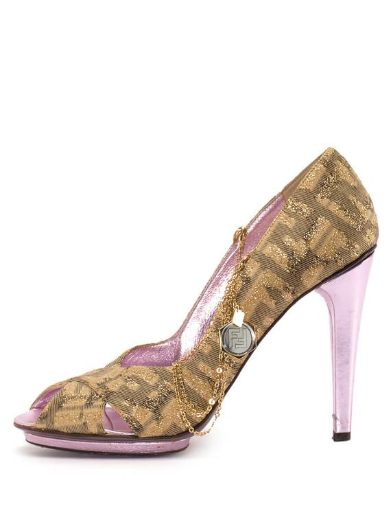 Women Fendi F Logo Embellished Peep-Toe Pump Heels -  Gold Size 39 US 9