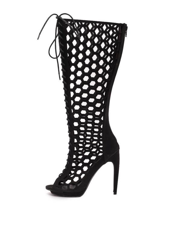 Women Penny loves Kenny Lace-Up Peep Toe Knee High Heels -  Black Size 37 US 7.5