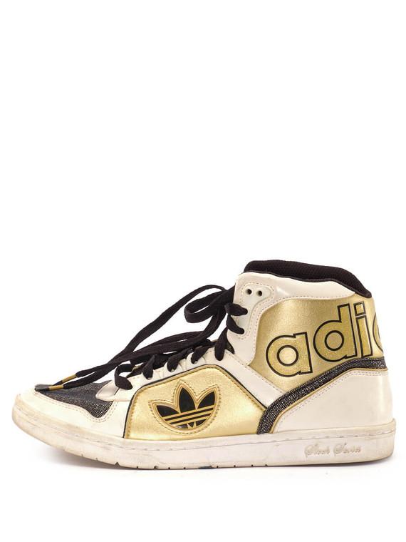 Women Adidas High-Top Sneaker -  White/Gold/Black US 7.5