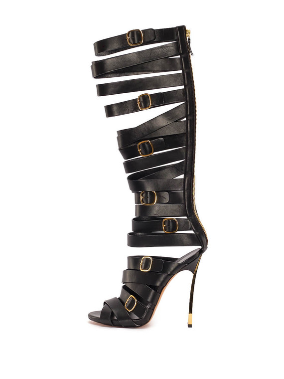 Women Casadei Gladiator Knee-High Sandal Heels -  Black Size 38.5 US 8.5