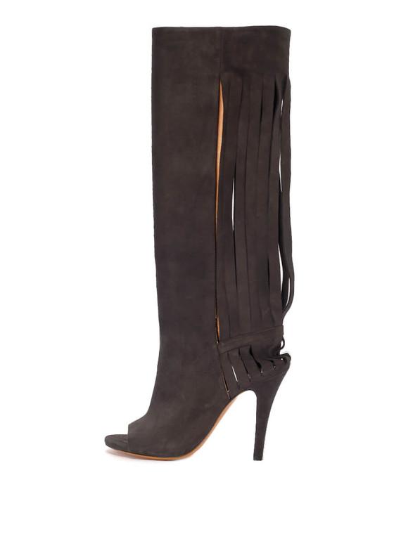 Women Maison Martin Margiela Fringe Slit Back Peep-Toe Heel Boots -  Black Size 38.5 US 8.5
