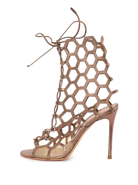 """Women Gianvito Rossi Lace Up Cage Sandal Heels - """" Rose Gold"""" Size 39 US 39"""